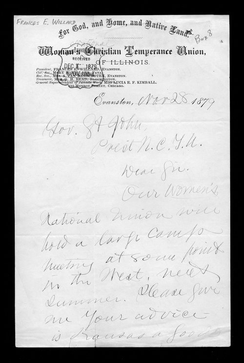 Frances E. Willard to Governor John St. John - Page