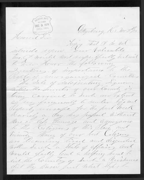 W. H. Hunter to Governor John St. John - Page
