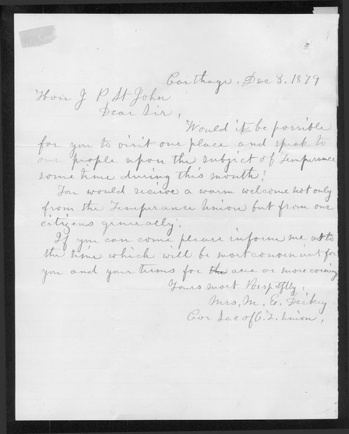 Mrs. M.E. Dickey to Governor John St. John - Page