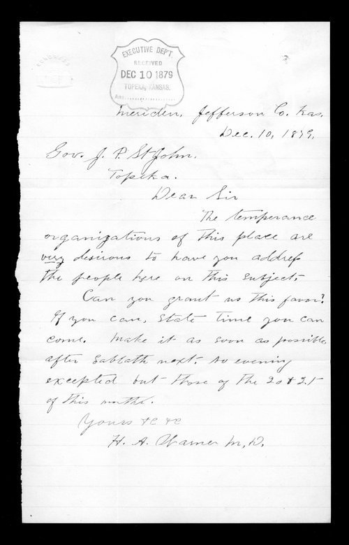 H.A. Warner to Governor John St. John - Page