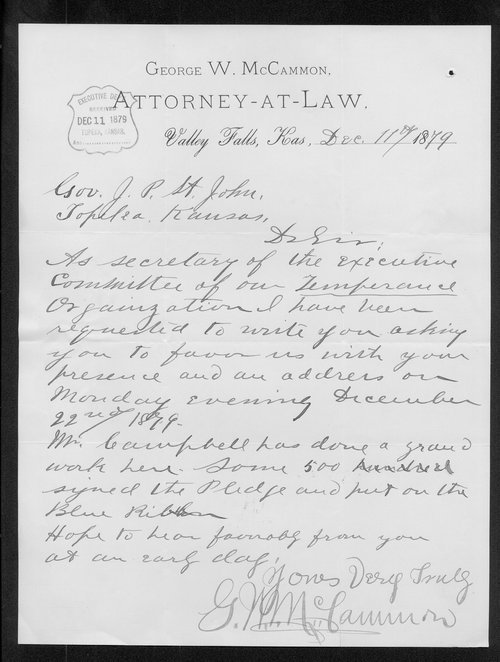 George W. McCammon to Governor John St. John - Page