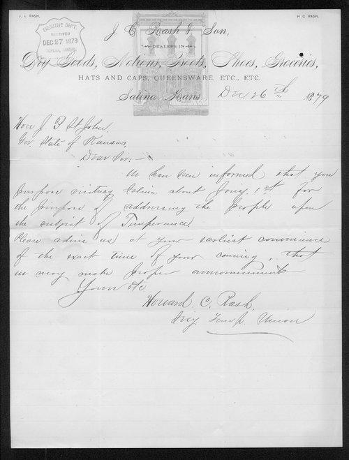 Howard C. Rash to Governor John St. John - Page