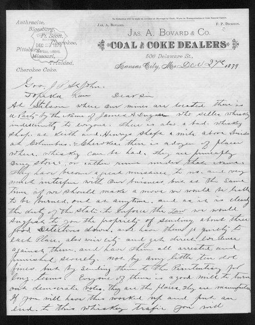 J.A. Bovard to Governor John St. John - Page