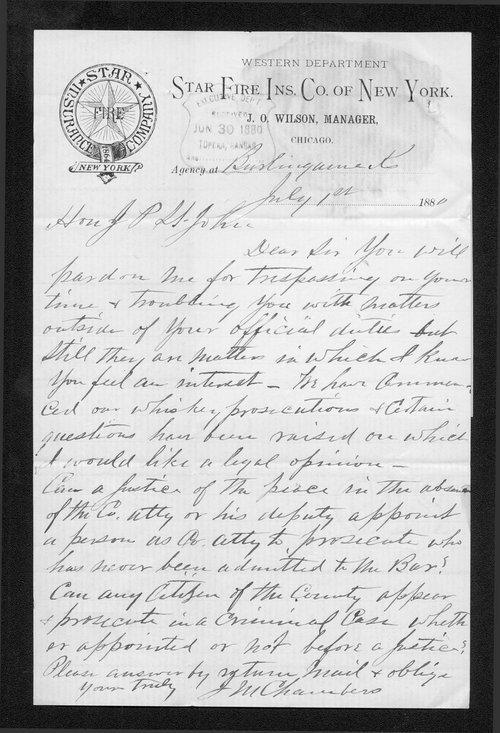 J. M. Chambers to Governor John St. John - Page