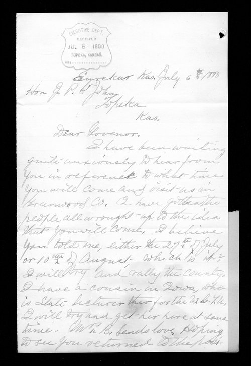 E. C. Brooks to Governor John St. John - Page