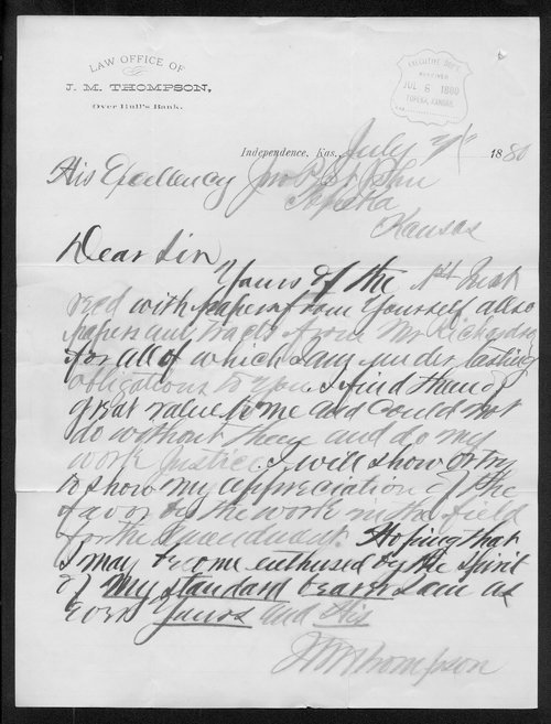 J. M. Thompson to Governor John St. John - Page