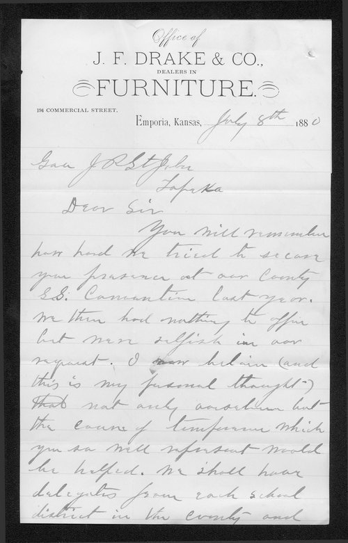 J. F. Drake to Governor John St. John - Page