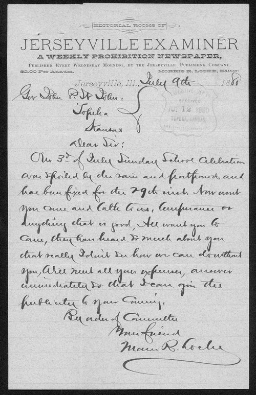 Morris T. Locke to Governor John St. John - Page