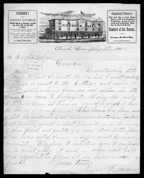 James M. Anderson to Governor John St. John - Page