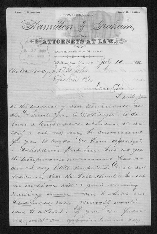 Samuel L. Hamilton to Governor John St. John - Page