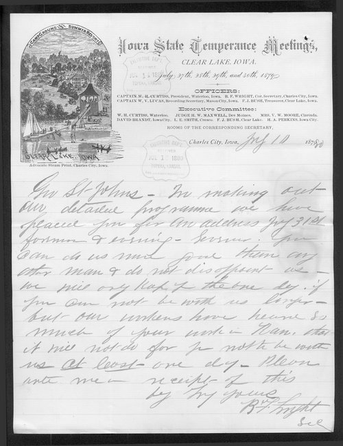 B. F. Wright to Governor John St. John - Page