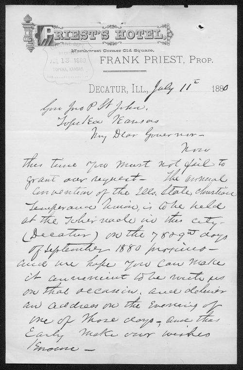 W. D. Wyatt to Governor John St. John - Page