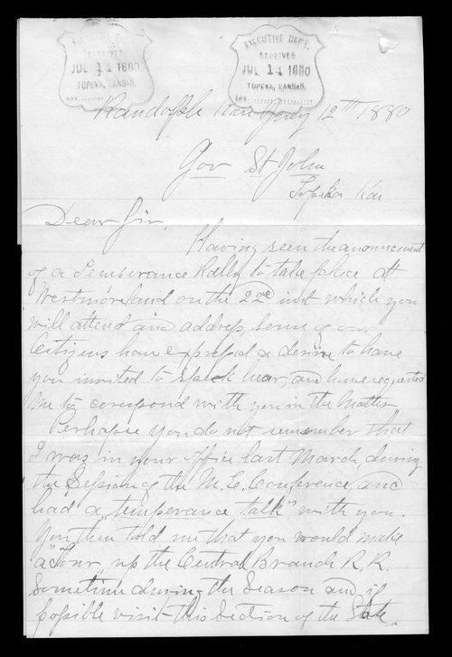 William Fryholder to Governor John St. John - Page