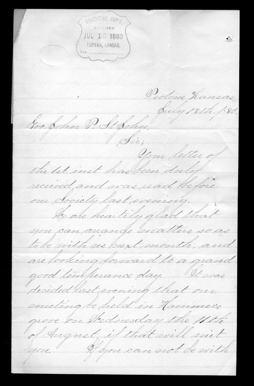 Mary A. McCrae to Governor John St. John - Page