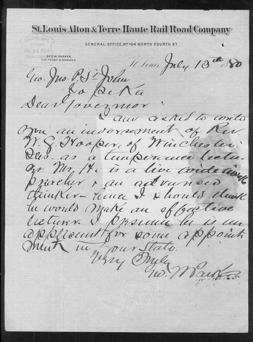 George W. Parker to Governor John St. John - Page