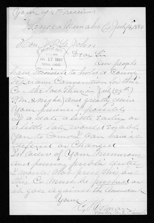 C. J. Colman to Governor John St. John - Page