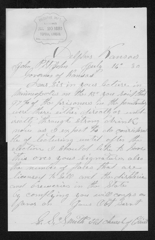 G. S. Smith to Governor John St. John - Page