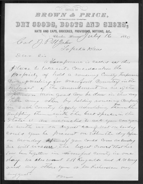 John T. Price to Governor John St. John - Page