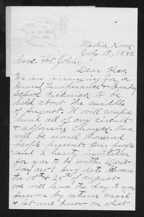 R. L. McNabb to Governor John St. John - Page