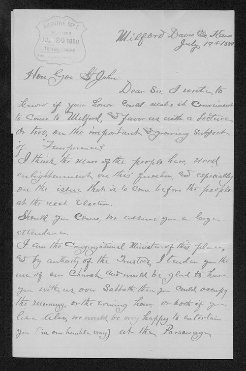 M. S. Riddle to Governor John St. John - Page