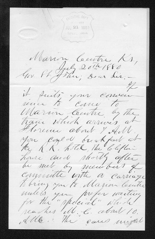 William Hamilton to Governor John St. John - Page