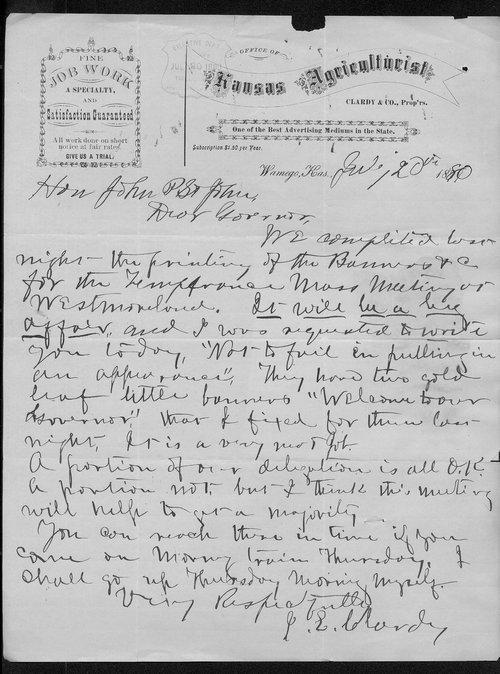J. E. Clardy to Governor John St. John - Page