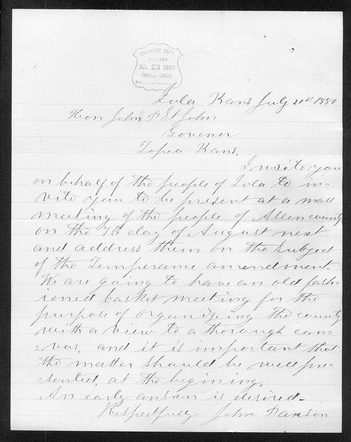 John Parson to Governor John St. John - Page