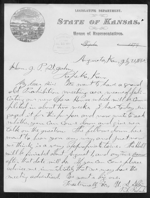 U. A. Albins to Governor John St. John - Page