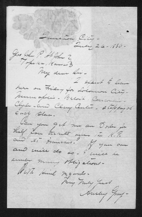 Ansley Gray to Governor John St. John - Page