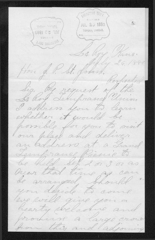 G. W. Robinson to Governor John St. John - Page