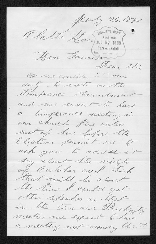 R. V. Redpath to Governor John St. John - Page
