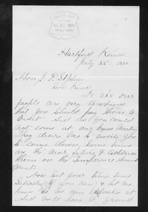 G. W. Sulton to Governor John St. John - Page