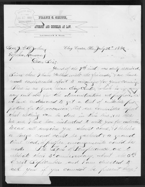 Frank C. Smith to Governor John St. John - Page