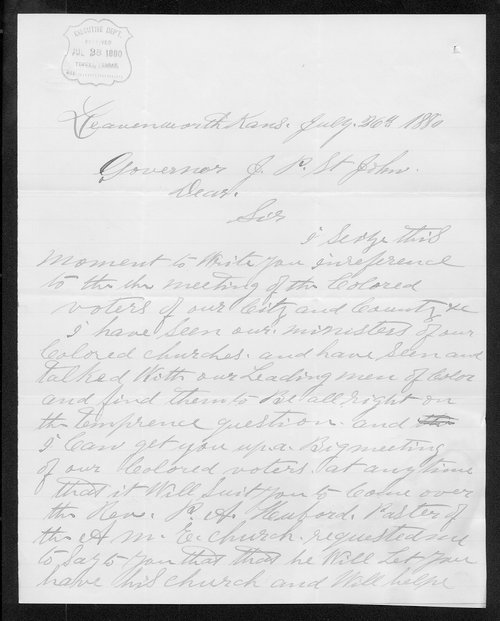 Captain W. D. Matthews to Governor John St. John - Page