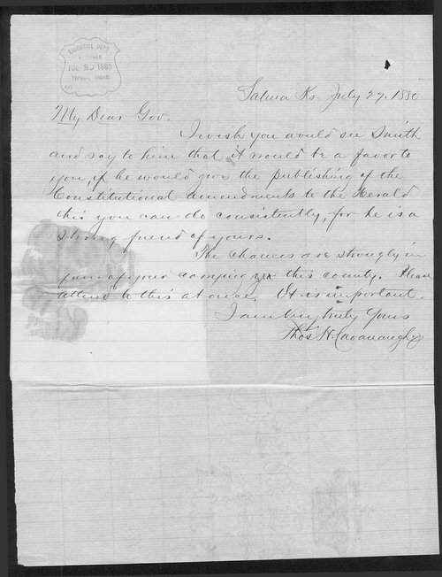 Thomas H. Cavanaugh to Governor John St. John - Page