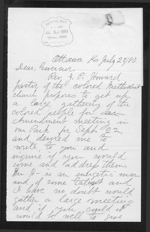 D. C. Milner to Governor John St. John - Page