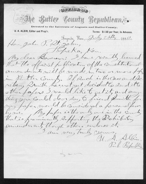 U. A. Albin to Governor John St. John - Page
