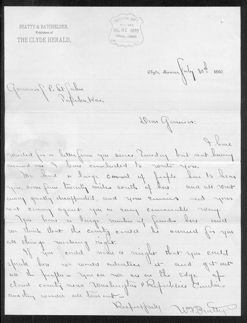 Wm. V. Beatty to Governor John St. John - Page
