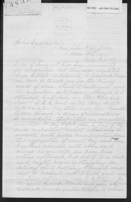 G. J. H. Lang to Governor John St. John - Page