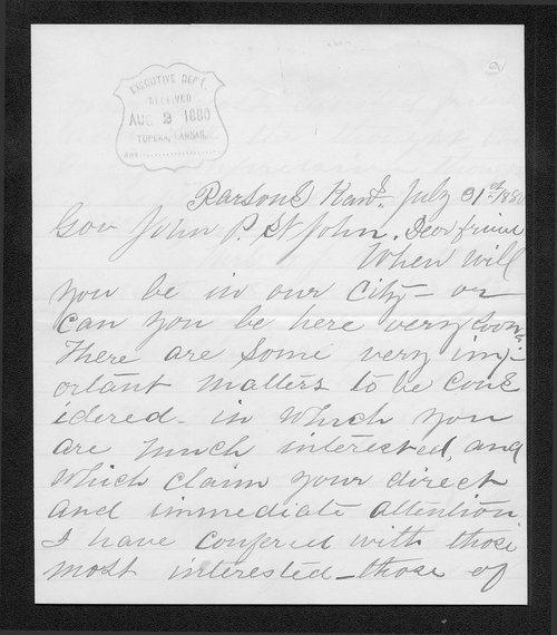 Mrs. Augustus Wilson to Governor John St. John - Page
