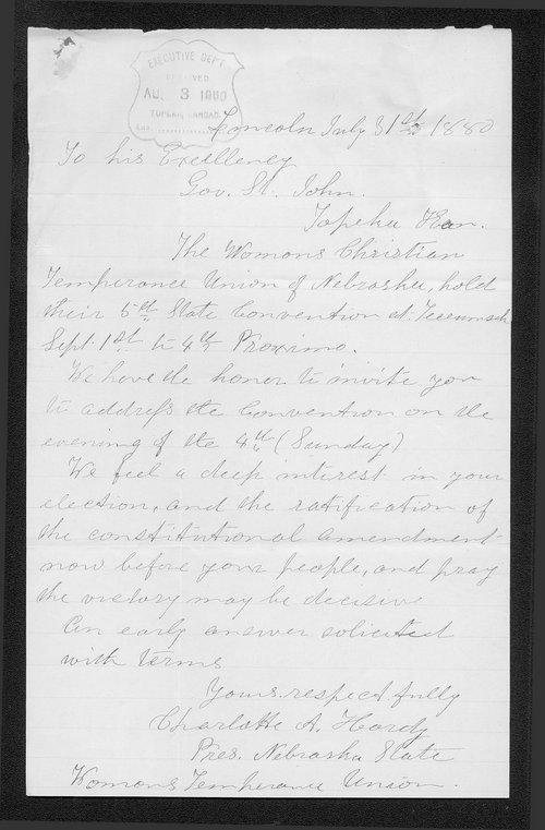 Charlotte A. Hardy to Governor John St. John - Page