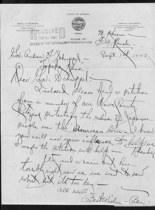 Benjamin O. Weaver to Governor Andrew Schoeppel - Page