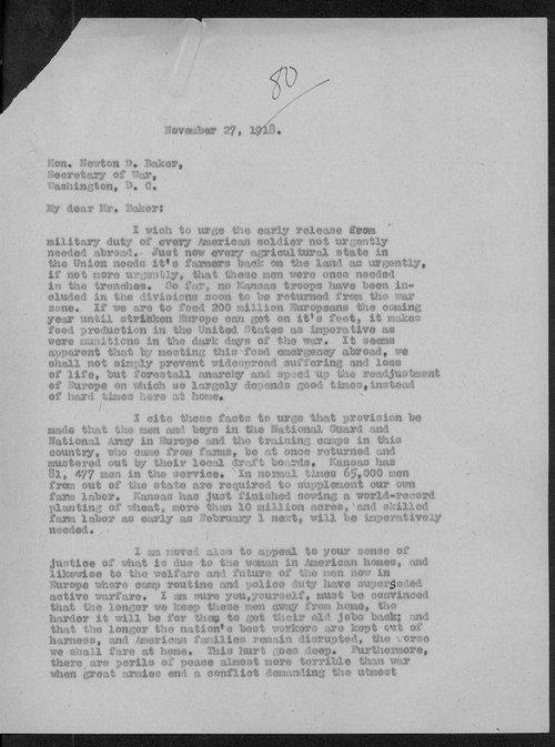 Senator Arthur Capper to Newton Baker - Page