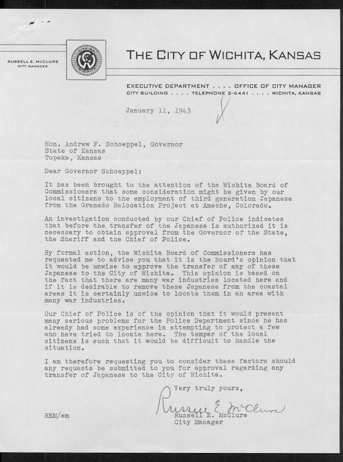 Russell McClure to Governor Andrew Schoeppel - Page