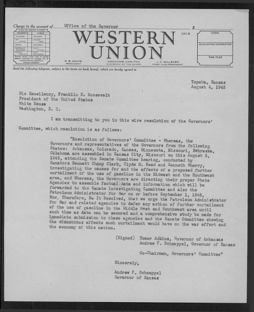 Governor Andrew Schoeppel to President Franklin Roosevelt - Page