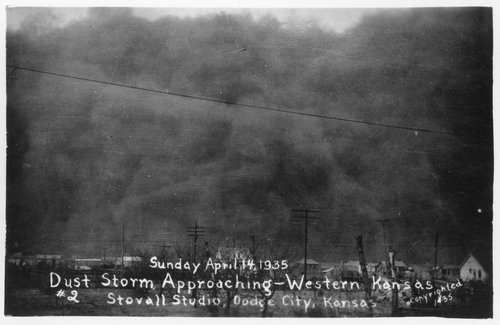 Dust storm approaching a western Kansas town - Page
