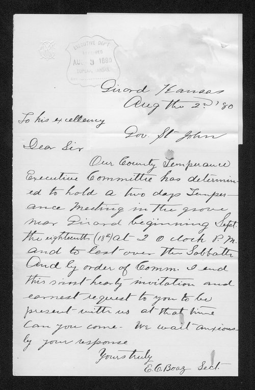 E. C. Boaz to Governor John St. John - Page