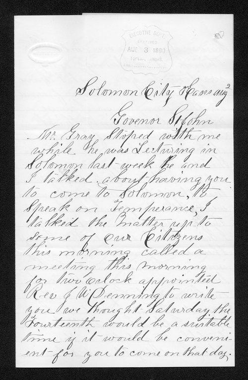J. S. Roberts to Governor John St. John - Page