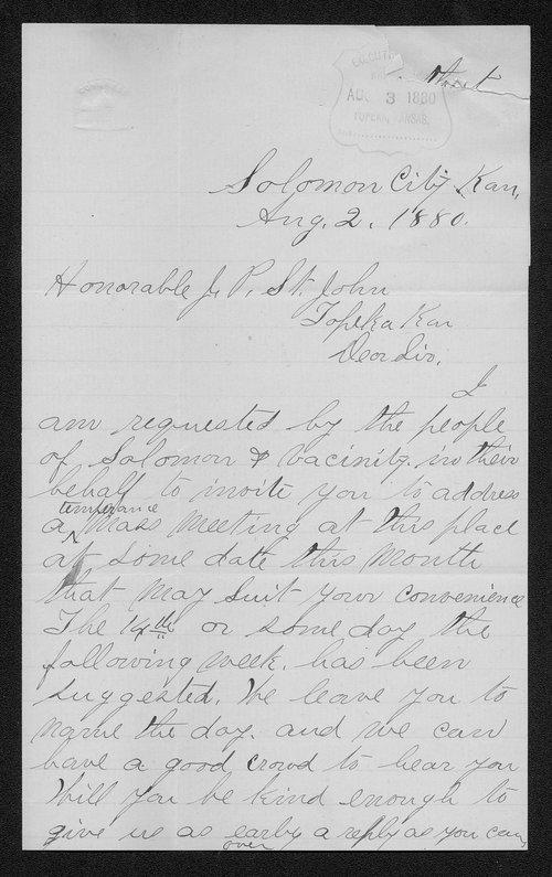 J. W. Denning to Governor John St. John - Page