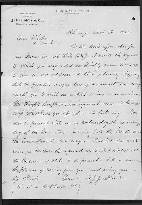 A. J. Jutkins to Governor John St. John - Page